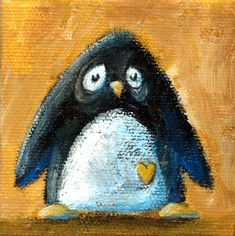 Acrylic on canvas Penguins, Canvas, Painting, Character, Tela, Painting Art, Penguin, Canvases, Paintings