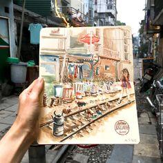 Old Railway Tracks, Hanoi, Vietnam Hanoi Vietnam, Sketches, Urban, Drawings, Doodles, Sketch, Tekenen, Sketching