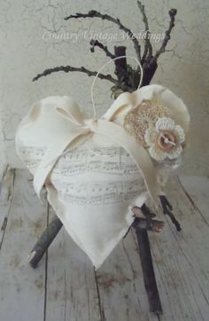 French Country Heart 5 ivory cotton with stamped by glowinggirl, $15.00