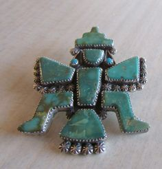 Zuni Carlos Tsipa Sterling Silver and Turquoise Knifewing Pin