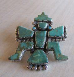 Zuni Carlos Tsipa Sterling Silver and Turquoise Knifewing Pin