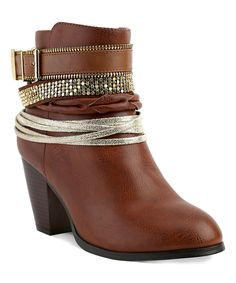 Look at this Cognac Concourse Ankle Bootie on #zulily today!