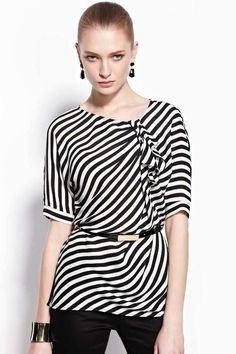 Moonbasa Striped Top With Belt
