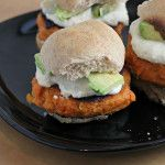 Smoky Sweet Potato Burgers with Roasted Garlic Cream and Avocado on Whole Wheat Sliders