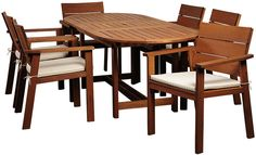 International Home Miami Nelson Eucalyptus 7-Pc Patio Dining Set