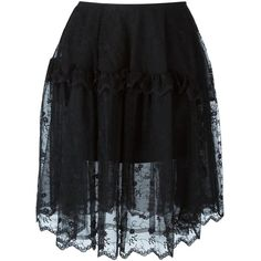 Simone Rocha Embroidered Tulle Skirt ($382) ❤ liked on Polyvore featuring skirts, black, knee length tulle skirt, simone rocha, embroidered skirt and tulle skirt