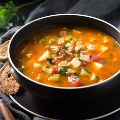 Manhattan Clam Chowder via @lowcarbmaven  THIS PERFECTLY HEARTY MANHATTAN CLAM CHOWDER USES CELERY ROOT INSTEAD OF POTATOES TO KEEP IT FLAVORFUL AND LOW CARB.