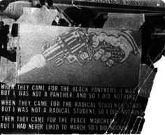 Newsreel poster made by Allan Siegel, protesting the police crackdowns on the Black Panthers and other radical groups.