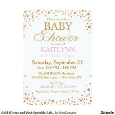 Gold Glitter and Pink Sprinkle Baby Shower 5x7 Paper Invitation Card