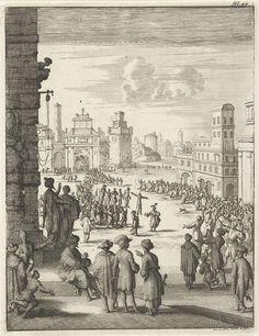 Gezicht op een plein waar gevilde personen op staken worden gedragen, Jan Luyken, 1684