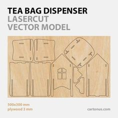 tea bag dispenser, wooden tea box, tea bag storage, tea house box, tea bag holder - vector model, product plan for laser cut of plywood - preview for vector eps file.