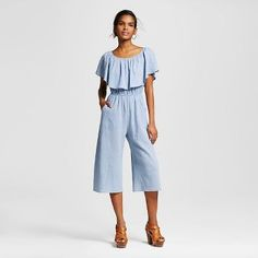 Women's Off the Shoulder Flounce Culotte Jumpsuit - Le Kate (Juniors') Light Denim