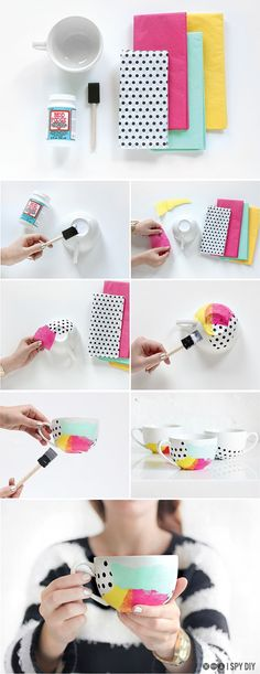 Easy, modern, and colorful DIY: Tissue Paper Watercolor Mug. Very cute for a gift or for a customized set for your home!  Needed: Dishwasher Safe ModPodge White Mug Various colors tissue paper