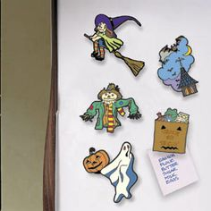 "Wicked Magnets DIY Woodcraft Pattern #821 - Halloween refrigerator magnets for spooky holiday fun. Ghosts, witches, jack-o-lanterns, vampires, and other assorted Halloween figures. 20 Designs in all! Largest is 4""H x 4""W. Pattern by Sherwood Creations #woodworking #woodcrafts #pattern #craft #magnet #halloween"