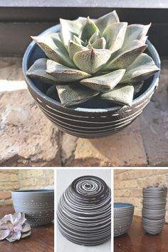Handmade stoneware bowls good for the table or as a makeshift planter - love the possibility of creativity!