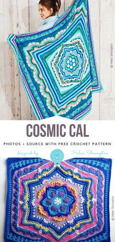 Crochet For Beginners Cosmic CAL Free Crochet Pattern Crochet Mandala Pattern, Granny Square Crochet Pattern, Afghan Crochet Patterns, Crochet Squares, Crochet Afghans, Crochet Blankets, Granny Squares, Crochet Stitches, Knitting Patterns