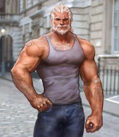 Reinhardt by on DeviantArt Character Concept, Character Art, Character Design, Reinhardt Wilhelm, Cartoon Man, Fantasy Male, Hommes Sexy, Bear Men, Gay Art