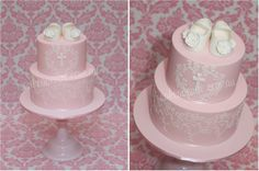 Christening cake with baby shoes, stencilled lace and cross monogram.