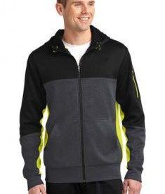 Sport-Tek ST245 Tech Fleece Colorblock Full-Zip Hooded Jacket Black/Graphite Heather/Citron