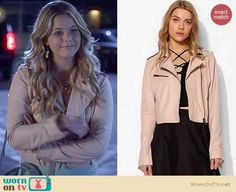Ali's light pink leather jacket on Pretty Little Liars.  Outfit Details: https://wornontv.net/34613/ #PLL