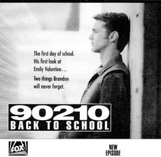 Brandon and Emily First Day Of School, Back To School, Jason Priestley, Beverly Hills 90210, Vintage Advertisements, Favorite Tv Shows, Soaps, Tv Series, Advertising