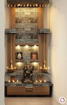 How to Ace-Up Mandir Design And Pooja Rooms Living Room Partition Design, Pooja Room Door Design, Room Partition Designs, Home Room Design, Living Room Tv Unit Designs, Home Interior Design, Living Room Ideas, Tv Wall Design, Foyer Design