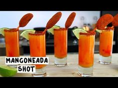 MINI MANGONEADA SHOTS 1 1/2 oz. (45ml) Tequila 1/2 oz. (15ml) Triple Sec 3 oz. (90ml) Mango Nectar 1 oz. (30ml) Lime Juice 2 Dashes Tapatio Hot Sauce Rim: Tajín Garnish: Lime slice, Mexican Mango Lollipop PREPARATION 1. Rim the edge of your shot glass using a lime slice and Tajín powder. 2. In a shaking glass with ice, combine tequila, triple sec, mango nectar, tapatio hot sauce, and lime juice. Shake well. 3. Drizzle chamoy sauce into the shot glass and strain mix in. 4. Garn...