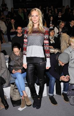 Poppy Delevigne in fair isle and leather.