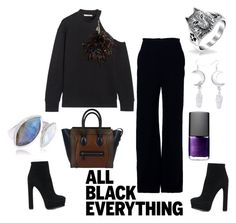 """""""Black Moon"""" by baenetic ❤ liked on Polyvore featuring Brandon Maxwell, Christopher Kane, Bling Jewelry, Witch Worldwide, Casadei, CÉLINE, NARS Cosmetics, Neola and allblackoutfit"""