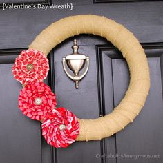 Valentine's Day wreath. Tutorial for pleated flowers http://www.craftaholicsanonymous.net/2012/01/valentines-day-wreath.html