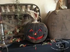 Olde Pear Primitives original goodwill make-over lighted pumpkin ©2015.