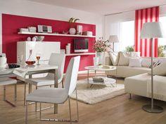 Wandgestaltung Wohnzimmer, Fenster: mit Schiene - rot