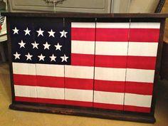 Handpainted American flag on an antique grape tray. https://www.facebook.com/ShabbyCreekOnMain