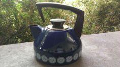 Vintage ASTA Enamel Enamelware Tea Kettle Cobalt Blue Mid Century Modern Teapot   eBay