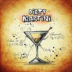 Martini Art - Dirty Martini Recipe  by Mountain Dreams