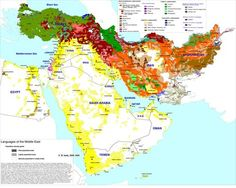 Language map of the Middle East [1600 x 1278]