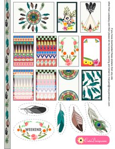 FREE Printable Tribal Aztec Boho Stickers Sample Kit for Happy Planner and ECLP by Cutedaisy