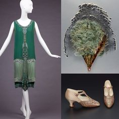 1925 #CallotSoeurs evening gown from @goldstein_museum, w/ a circa 1915 feather fan from @philamuseum paired with these beautiful embroidered silk satin pumps by A.Gillet from @mfaboston