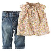 Essential stretch denim and girly ruffle sleeves make this Fall Flowers outfit a cute addition to her closet. <br>