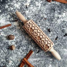 Scandinavian  Mini rolling pin, embossing rolling pin, laser engraved rolling…