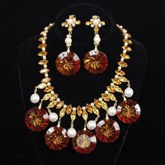 257. Schreiner New York 2pc. Demi-Parure; Necklace & Clip on Earrings Lot 257