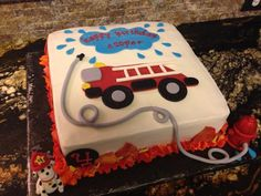 Fire Truck Birthday Cake... Matching cupcakes.. Truck Birthday Cakes, Truck Cakes, Birthday Fun, Birthday Ideas, Fireman Party, Firefighter Birthday, Fire Engine Cake, Fireman Sam Cake, Fire Fighter Cake
