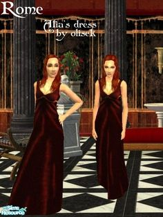 It's a dress worn by Atia of the Julii from the 'Rome' series. It appears both as everyday and formal. Enjoy!  Found in TSR Category 'Female Adult Clothing'