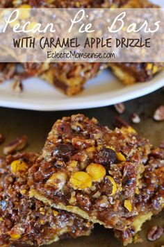 Pecan Pie Bars with Caramel Apple Drizzle- A delicious cookie/cake hybrid crust with an easy pecan pie filling and drizzle of homemade apple juice caramel. #BakeInTheFun [ad] Pecan Pie without corn syrup. Caramel made with apple juice.