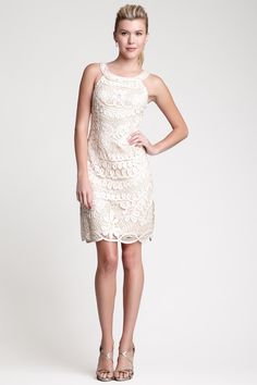 Patterned Lace Cutout Neck Short Dress