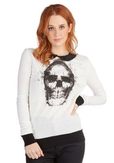 Skull You Could Ever Want Sweater. We can feel it in our bones - you were meant to sport this ivory sweater! #white #modcloth