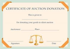 silent auction donation certificate template - Auction Certificate Template