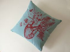 Growing Human Heart silk screened cotton canvas throw pillow 18 inch teal light blue red