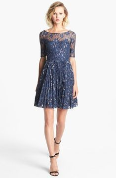 Betsey Johnson Metallic Lace Fit & Flare Dress on shopstyle.com
