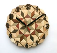 Wall clock from slices of wood. Size is 8 1/2 (21 cm) diametr. The wall clock has a sweep quartz mechanism (non ticking). Wood of the clock is not drawn and holds natural color. For protection against moisture, the clock is covered by a transparent varnish One AA battery operates the